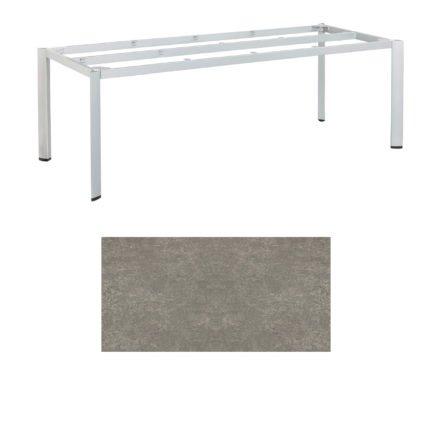 "Kettler Tischgestell 220x95cm ""Edge"", Aluminium silber, mit Tischplatte Keramik grau-taupe"