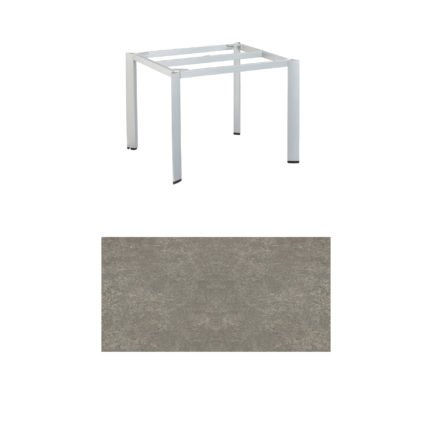 "Kettler Tischgestell 95x95cm ""Edge"", Aluminium silber, mit Tischplatte Keramik grau-taupe"