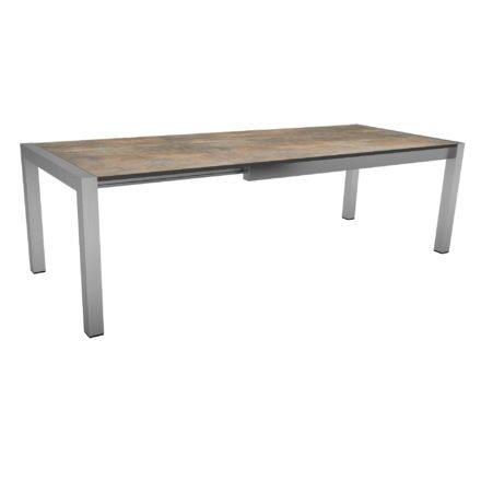 """Ausziehtisch """"Standard"""" von Stern, Gestell Edelstahl, Tischplatte HPL Ferro, Größe: 175/254x90 cm"""