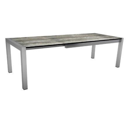 """Ausziehtisch """"Standard"""" von Stern, Gestell Edelstahl, Tischplatte HPL Tundra grau, Größe: 175/254x90 cm"""
