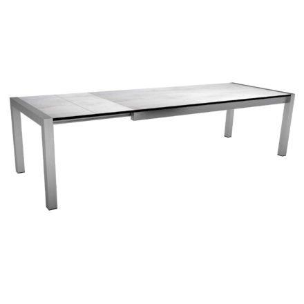 """Ausziehtisch """"Standard"""" von Stern, Gestell Edelstahl, Tischplatte HPL Zement hell, Größe: 214/294x100 cm"""
