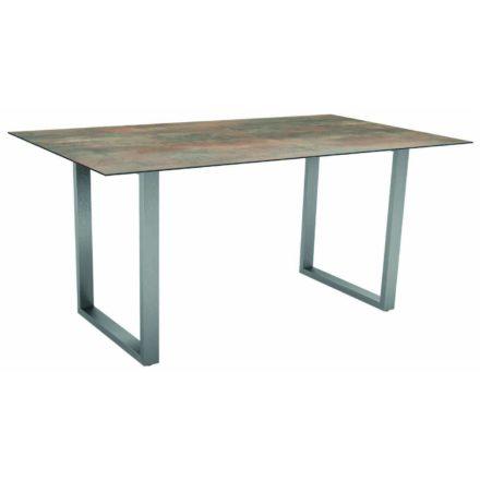 Stern Kufentisch, Gestell Edelstahl, Tischplatte HPL Ferro, Tischgröße: 160x90 cm