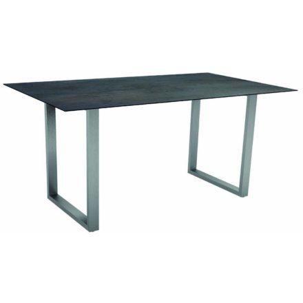 Stern Kufentisch, Gestell Edelstahl, Tischplatte HPL Nitro, Tischgröße: 160x90 cm
