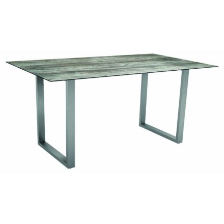 Stern Kufentisch, Gestell Edelstahl, Tischplatte HPL Tundra grau, Tischgröße: 160x90 cm