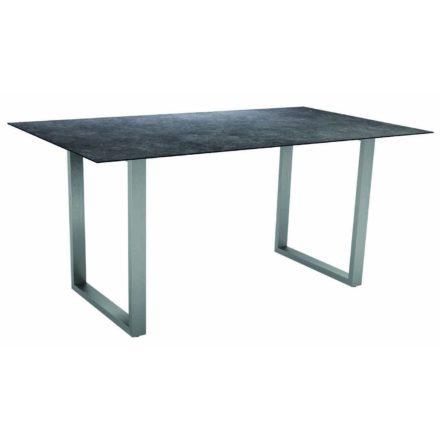 Stern Kufentisch, Gestell Edelstahl, Tischplatte HPL Vintage grau, Tischgröße: 160x90 cm