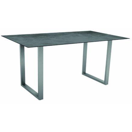 Stern Kufentisch, Gestell Edelstahl, Tischplatte HPL Zement, Tischgröße: 160x90 cm