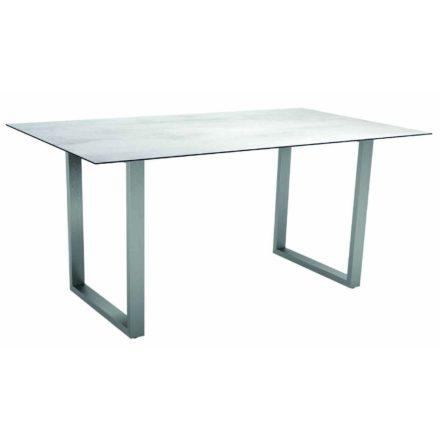 Stern Kufentisch, Gestell Edelstahl, Tischplatte HPL Zement hell, Tischgröße: 160x90 cm