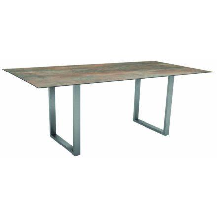 Stern Kufentisch, Gestell Edelstahl, Tischplatte HPL Ferro, Tischgröße: 200x100 cm