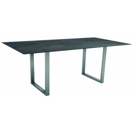 Stern Kufentisch, Gestell Edelstahl, Tischplatte HPL Nitro, Tischgröße: 200x100 cm