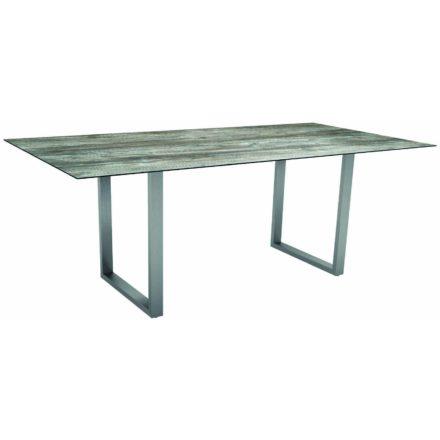 Stern Kufentisch, Gestell Edelstahl, Tischplatte HPL Tundra grau, Tischgröße: 200x100 cm