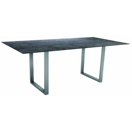 Stern Kufentisch, Gestell Edelstahl, Tischplatte HPL Vintage grau, Tischgröße: 200x100 cm