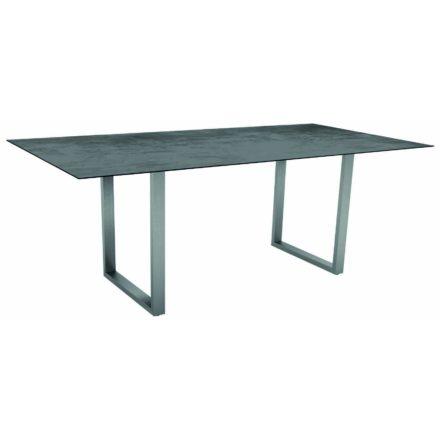 Stern Kufentisch, Gestell Edelstahl, Tischplatte HPL Zement, Tischgröße: 200x100 cm