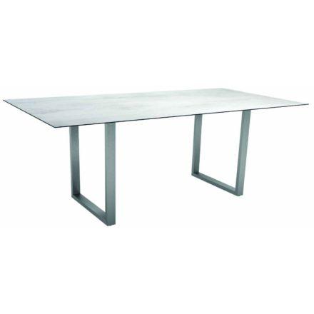 Stern Kufentisch, Gestell Edelstahl, Tischplatte HPL Zement hell, Tischgröße: 200x100 cm