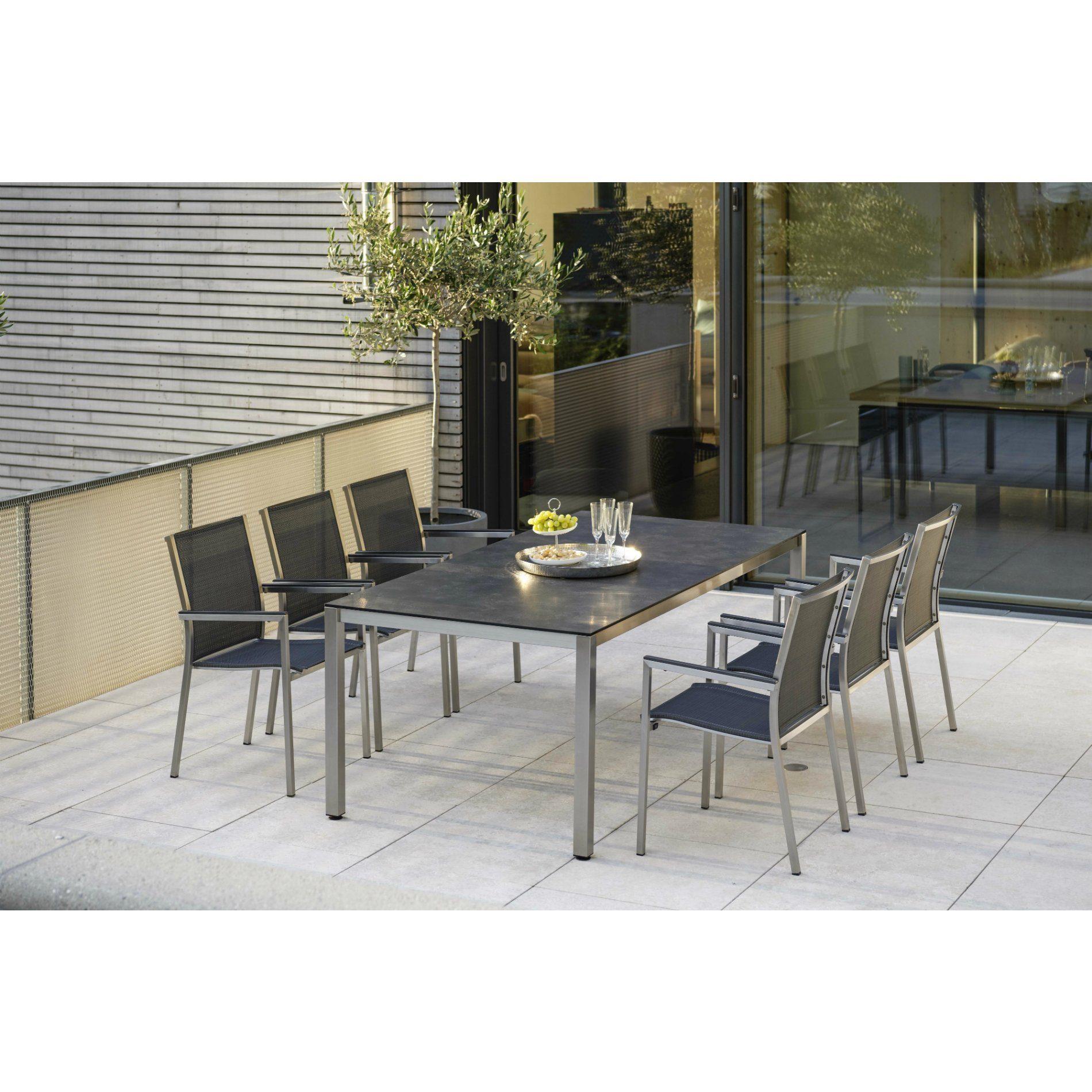 """Stern Gartenmöbel Set mit Stuhl """"Polaris"""" und Tisch Edelstahl/HPL Beton dunkel5 teilig"""