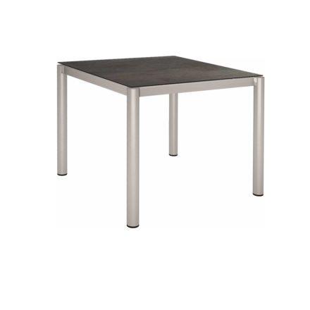 Stern Tischsystem, Gestell Edelstahl Rundrohr, Tischplatte HPL Nitro, 90x90 cm
