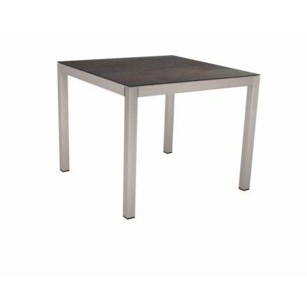 Stern Tischsystem, Gestell Edelstahl Vierkantrohr, Tischplatte HPL Nitro, 80x80 cm