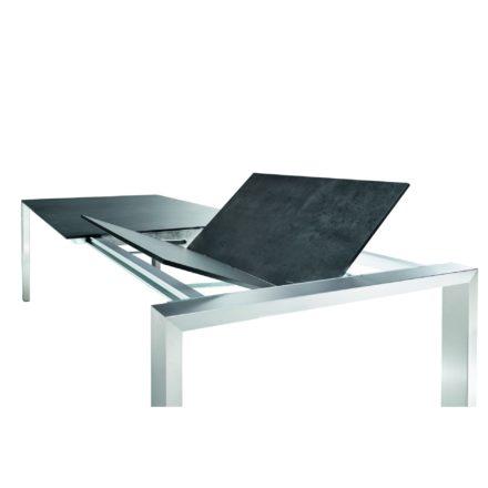 """Niehoff """"Newport"""" Ausziehtisch, Gestell Aluminium in Edelstahloptik, Tischplatte HPL Beton-Design"""