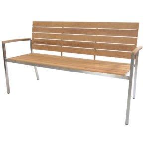 """3-Sitzer Gartenbank """"Beat"""" von Fischer Möbel, Gestell Edelstahl, Sitz- und Rückenfläche aus Teakholz"""