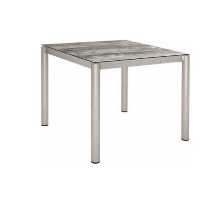 Stern Tischsystem, Gestell Edelstahl Rundrohr, Tischplatte HPL Tundra grau, 90x90 cm