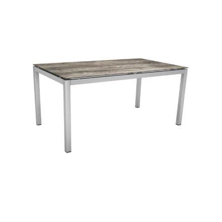Stern Tischsystem, Gestell Edelstahl Vierkantrohr, Tischplatte HPL Tundra grau, 160x90 cm