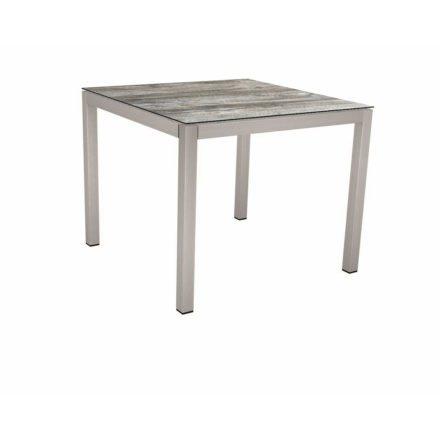 Stern Tischsystem, Gestell Edelstahl Vierkantrohr, Tischplatte HPL Tundra grau, 80x80 cm