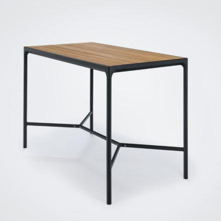 """Bartisch """"Four"""" von Houe, Gestell Aluminium schwarz, Tischplatte Bambus, 160x90 cm"""