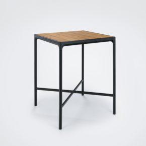 """Bartisch """"Four"""" von Houe, Gestell Aluminium schwarz, Tischplatte Bambus, 90x90 cm"""