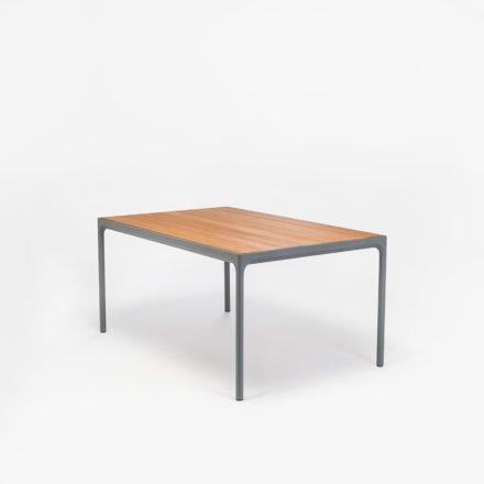 """Gartentisch """"Four"""" von Houe, Gestell Aluminium grau, Tischplatte Bambus, 160x90 cm"""