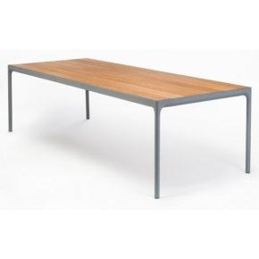 """Gartentisch """"Four"""" von Houe, Gestell Aluminium grau, Tischplatte Bambus, 210x90 cm"""