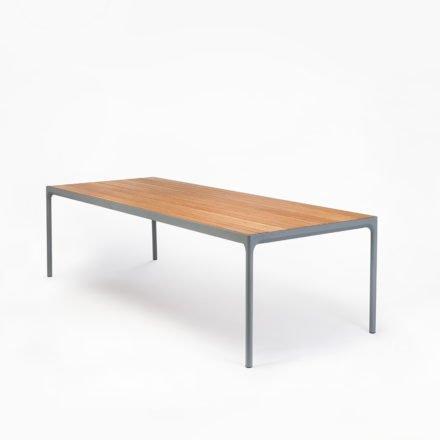 """Gartentisch """"Four"""" von Houe, Gestell Aluminium grau, Tischplatte Bambus, 270x90 cm"""