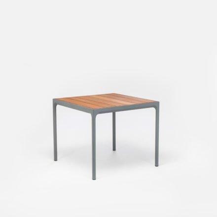 """Gartentisch """"Four"""" von Houe, Gestell Aluminium grau, Tischplatte Bambus, 90x90 cm"""