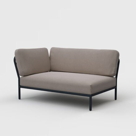 "Houe ""Level"" Lounge-Seitenteil links, Gestell Aluminium, Textilgewebe Sunbrella Heritage Ash"