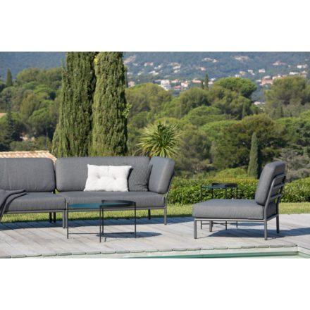 """Loungeserie """"Level"""" von Houe, Gestell Aluminium, Textilgewebe grau und Beistelltisch Edge, kieferngrün/schwarz"""