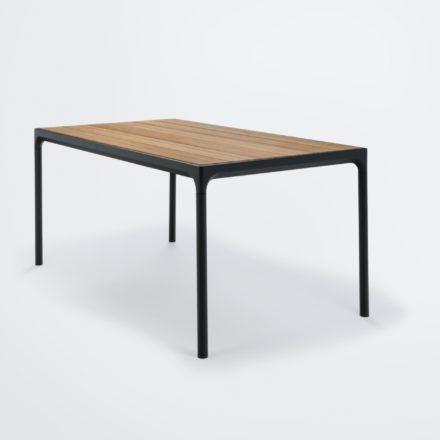 """Gartentisch """"Four"""" von Houe, Gestell Aluminium schwarz, Tischplatte Bambus, 160x90 cm"""