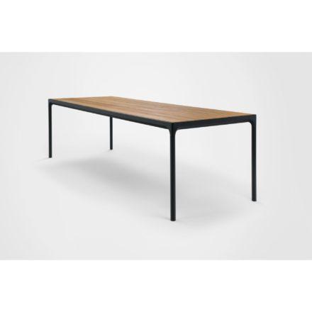 """Gartentisch """"Four"""" von Houe, Gestell Aluminium schwarz, Tischplatte Bambus, 270x90 cm"""
