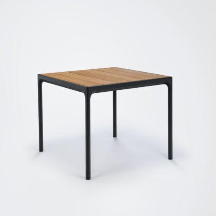 """Gartentisch """"Four"""" von Houe, Gestell Aluminium schwarz, Tischplatte Bambus, 90x90 cm"""