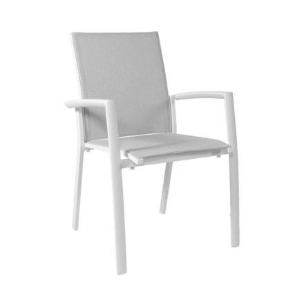 "Jati&Kebon Stapelsessel ""Sevilla"", Gestell Aluminium weiß, Sitzfläche Textilgewebe spring grey, Armlehnen Aluminium weiß"