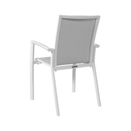 "Jati&Kebon Stapelsessel ""Sevilla"", Gestell Aluminium weiß, Sitzfläche Textilgewebe Leisuretex spring grey, Armlehnen Aluminium weiß"