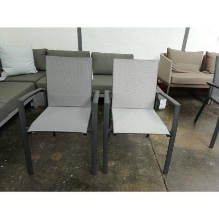 "Jati&Kebon Gartenstuhl ""Sevilla"", Gestell Aluminium eisengrau, links Textilgewebe silbergrau, rechts Leisuretex grau"