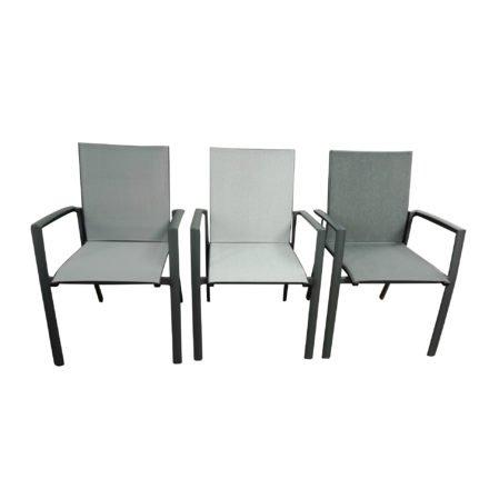 "Jati&Kebon Gartenstuhl ""Sevilla"", Gestell Aluminium eisengrau, links Textilgewebe silbergrau, Mitte Leisuretex grau, rechts Leisuretex dark grey"