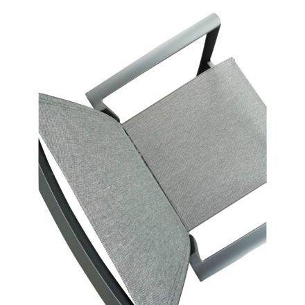 "Jati&Kebon Gartenstuhl ""Sevilla"", Gestell Aluminium eisengrau, Textilgewebe Leisuretex dark grey"