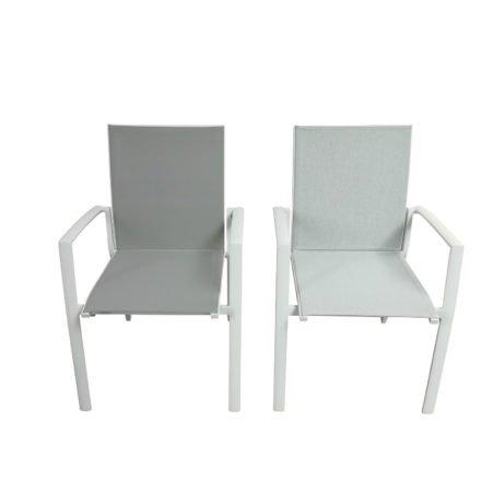 "Jati&Kebon Gartenstuhl ""Sevilla"", Gestell Aluminium weiß, links Textilgewebe hellgrau, rechts Leisuretex spring grey"