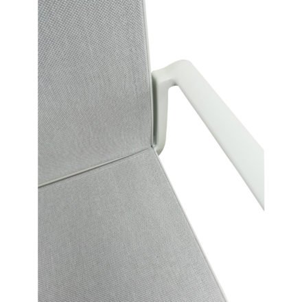 "Jati&Kebon Gartenstuhl ""Sevilla"", Gestell Aluminium weiß, Textilgewebe Leisuretex spring grey"