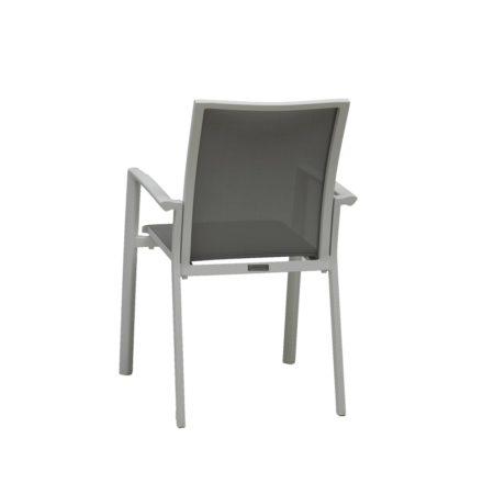 "Jati&Kebon Gartenstuhl ""Sevilla"", Gestell Aluminium weiß, Textilgewebe hellgrau"