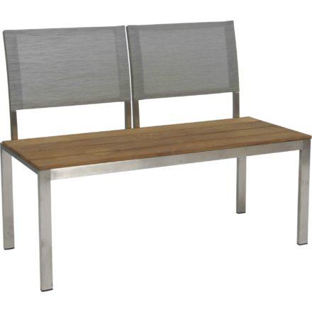 "Stern 2-Sitzer Bank ""Arima"", Gestell Edelstahl, Sitzfläche Teakbelattung, Rückenlehnen Textilgewebe"