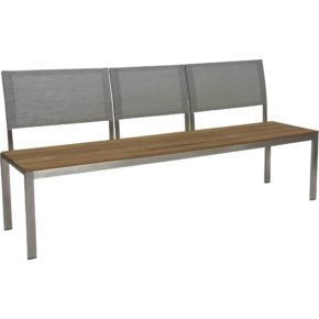 "Stern 3-Sitzer Bank ""Arima"", Gestell Edelstahl, Sitzfläche Teakbelattung, Rückenlehnen Textilgewebe"