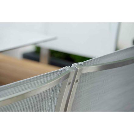 "Stern Bank ""Arima"", Gestell Edelstahl, Sitzfläche Teakbelattung, Rückenlehnen Textilgewebe"