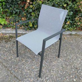 "Jati&Kebon Gartenstuhl ""Elida"", Gestell Aluminium eisengrau, Textilgewebe silbergrau"