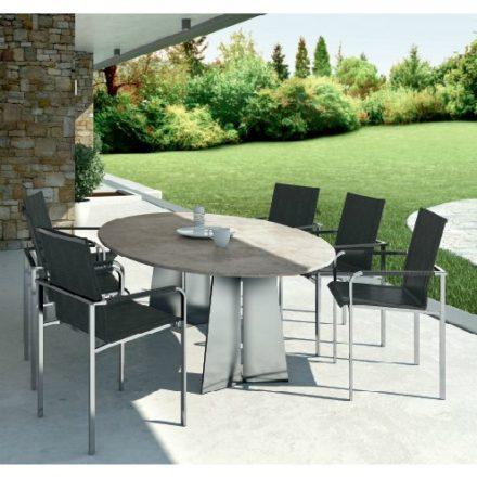 """Gartentisch """"Ancona"""", feststehend, oval, Gestell Edelstahl, Tischplatte Keramik"""