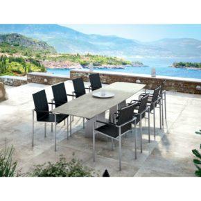 """Gartentisch """"Ancona"""" von Zumsteg, ausziehbar, Gestell aus Edelstahl, Tischplatte Keramik, bootsförmig"""